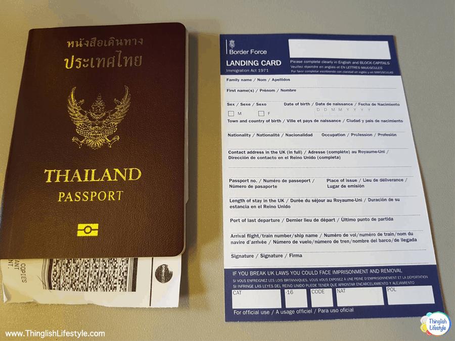 Thai Passport and Landing Card