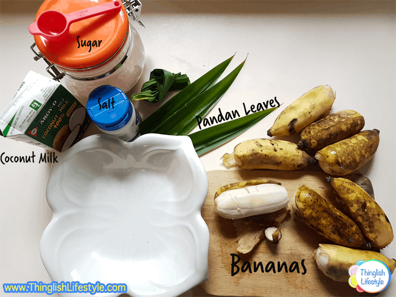 ingredients for bananas in coconut milk - Thai dessert
