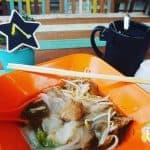 Fat noodle soup and a cuppa tea